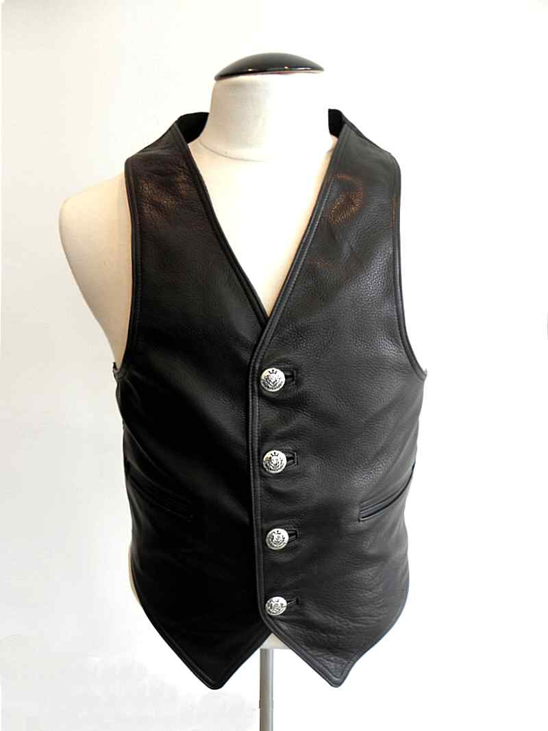 画像2: Gaboratory Tailored Leather Vest (Chinese silk back)