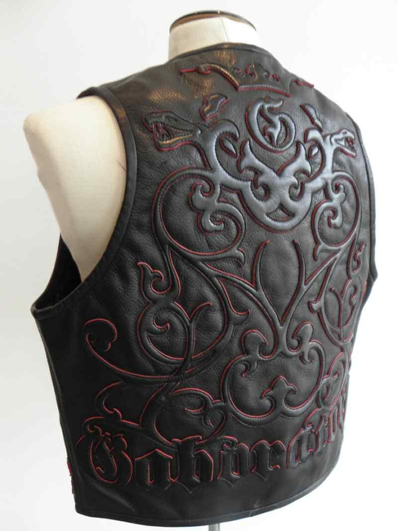 画像1: Gaboratory Tailored Leather Vest (Tribal art work)