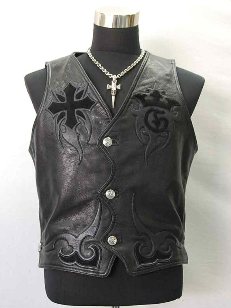 画像1: Gaboratory Tribal Leather Vest