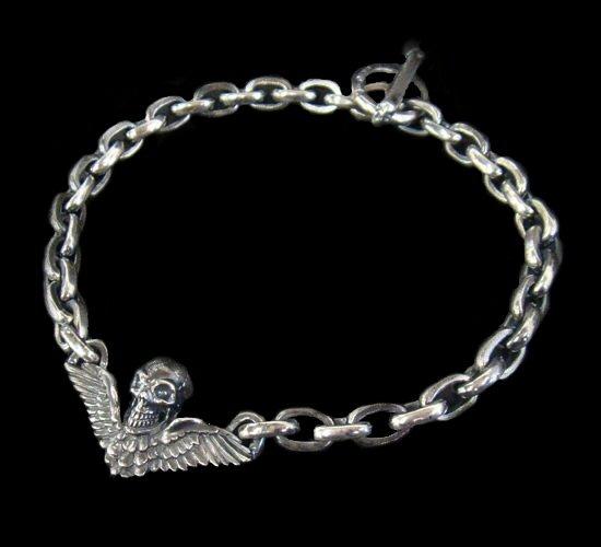 画像1: Wing Skull & Chain Links Necklace