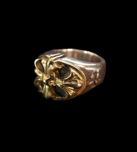 画像1: 10k Gold Cross Oval On Silver Ring