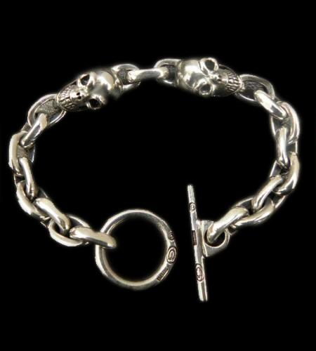 画像1: Skull Pins With Small Oval Chain Links Bracelet