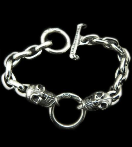 画像1: 2Skulls With Small Oval Links Bracelet