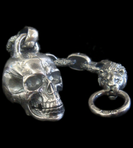 画像1: Large Skull With H.W.O & Chiseled Anchor Links With 1lion Head Wallet Hanger