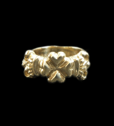 画像1: Gold Small 4Heart Crown Ring