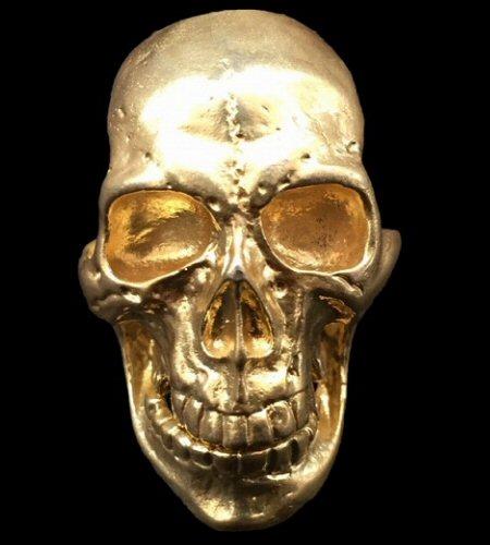 画像1: 10K Gold Old Skull Full Face Ring( Pure Gold Color Finish)