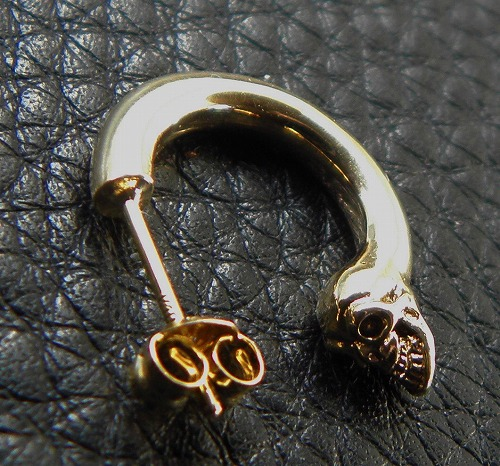 画像3: 10K Gold Phantom T-bar Skull On O-ring Pierce