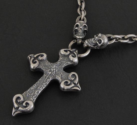 画像3: Quarter 4 Heart Chiseled Cross With Half 2 Skulls Chain Necklace