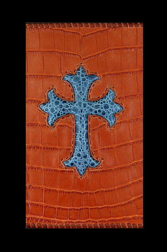 画像2: Frog Cross Inlay Crocodile(Belly) Long Wallet
