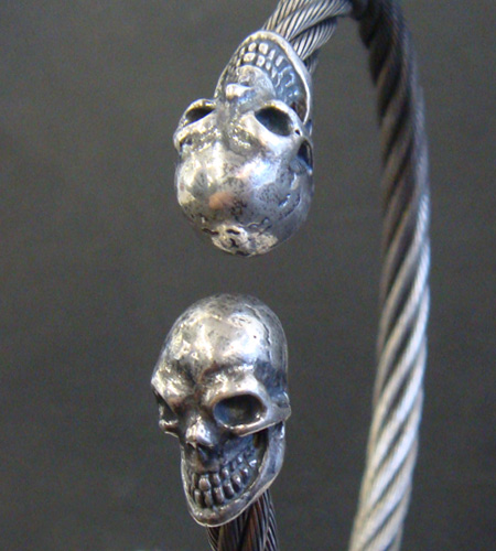 画像3: Half Skull Cable Wire Bangle