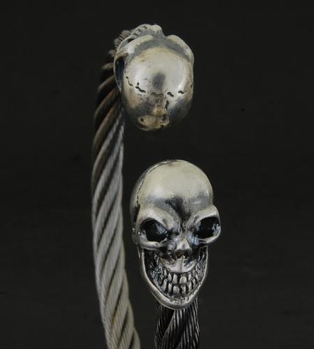 画像2: Skull Cable Wire Bangle