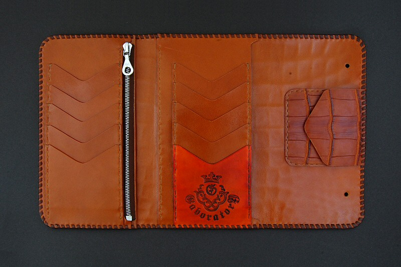 画像4: Frog Cross Inlay Crocodile(Belly) Long Wallet