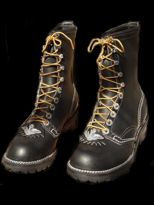 画像1: Long Boots with Skull Wing