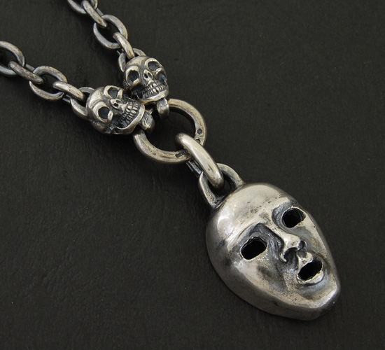 画像2: Face With 2 Quarter Skull & 7Chain Necklace