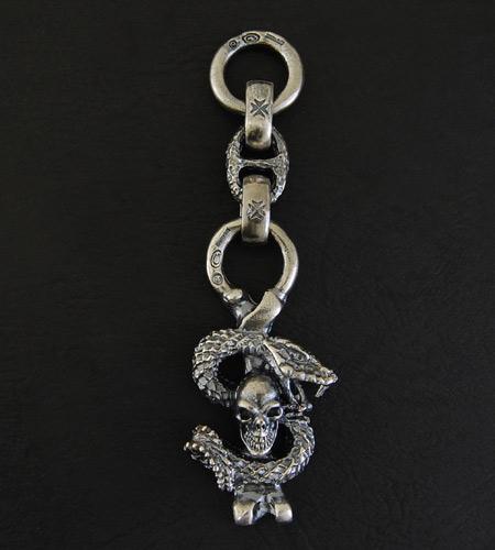 画像3: Half Skull Snake Chiseled Anchor Wallet Hanger