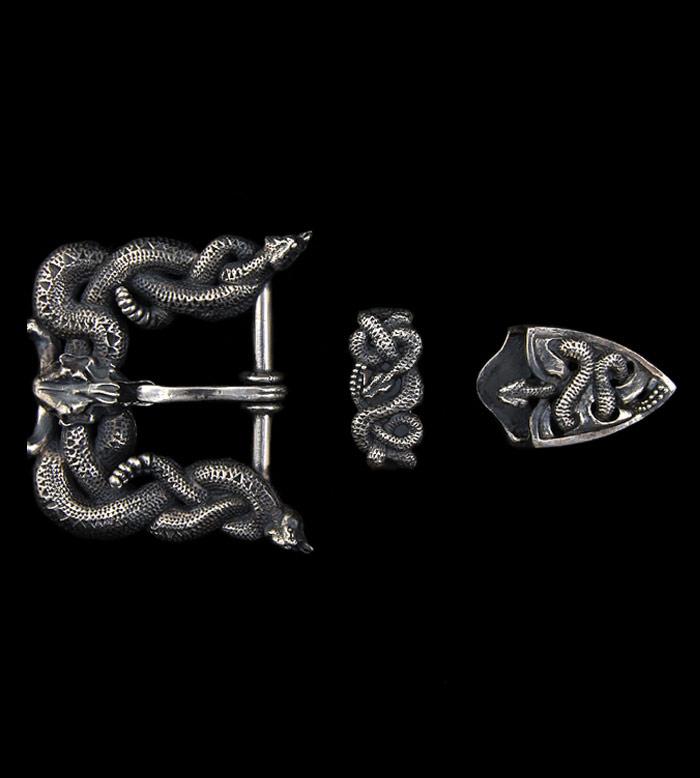 画像1: Large Snake & Buffalo Skull Belt Buckle