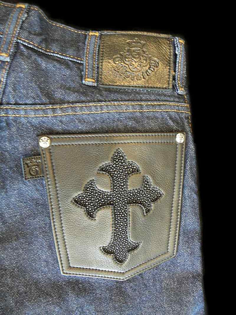 画像3: Gaboratory Reinforced Jeans with Stingray inlay Cow hide pocket