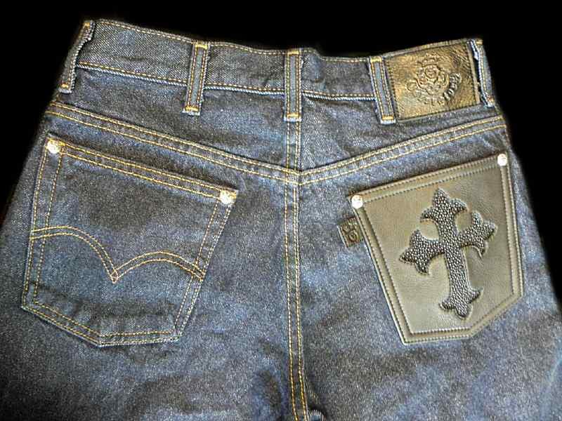 画像1: Gaboratory Reinforced Jeans with Stingray inlay Cow hide pocket