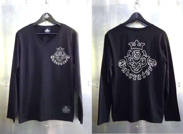 画像1: Atelier mark V-neck T-Shirt [Black]