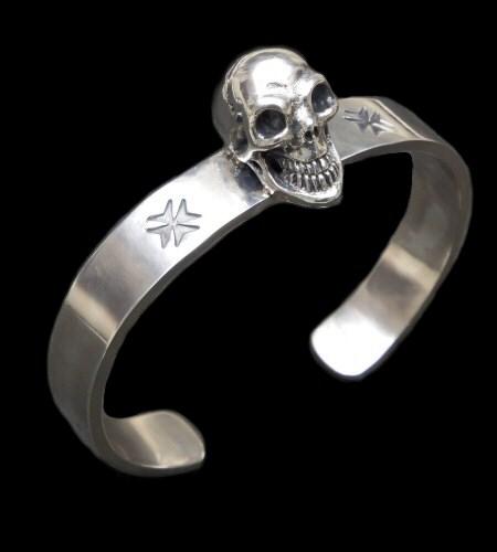 画像1: Skull On Flat Bar Bangle