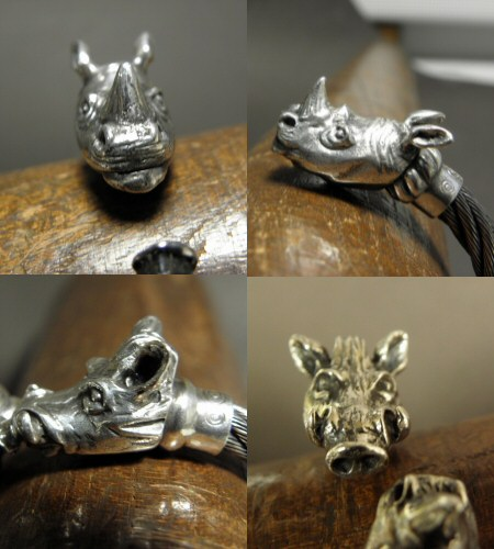画像3: Rhinoceros & Boar Cable Wire Bangle