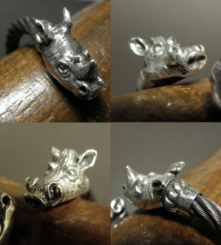 画像5: Rhinoceros & Boar Cable Wire Bangle
