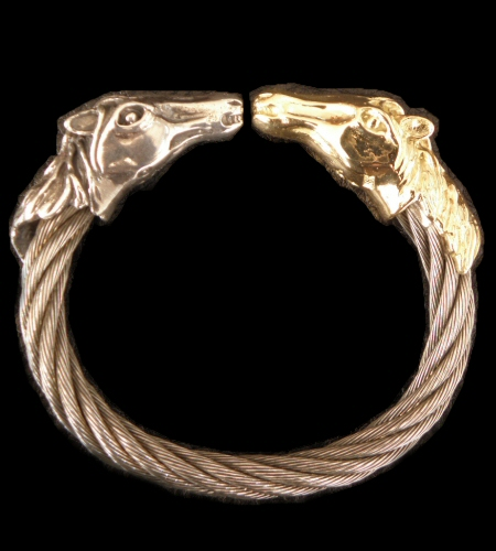 画像1: Gold & Silver Stupid Horse Cable Wire Bangle