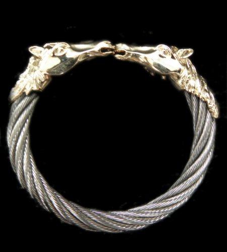 画像1: Gold Horse With Teeth Cable Wire Bangle