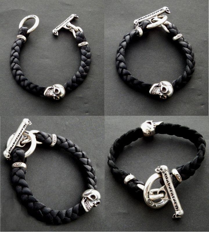 画像2: Skull On braid leather bracelet