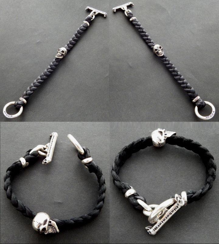 画像4: Skull On braid leather bracelet