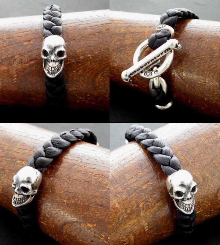画像5: Skull On braid leather bracelet