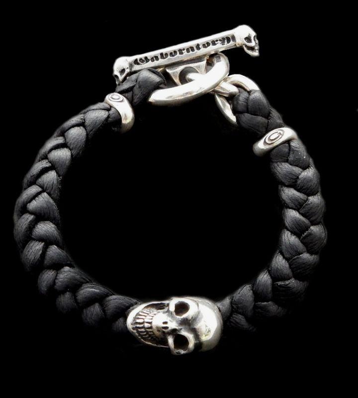 画像1: Skull On braid leather bracelet