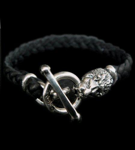 画像1: Quarter Lion braid leather bracelet