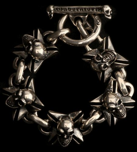 画像1: Skull On Maltese Cross Links Bracelet