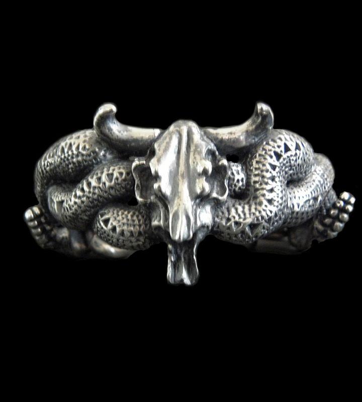 画像1: Large Buffalo Skull & Large Snake Bracelet