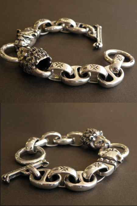 画像2: Lion & Old bulldog With H.W.O & Anchor Links Bracelet