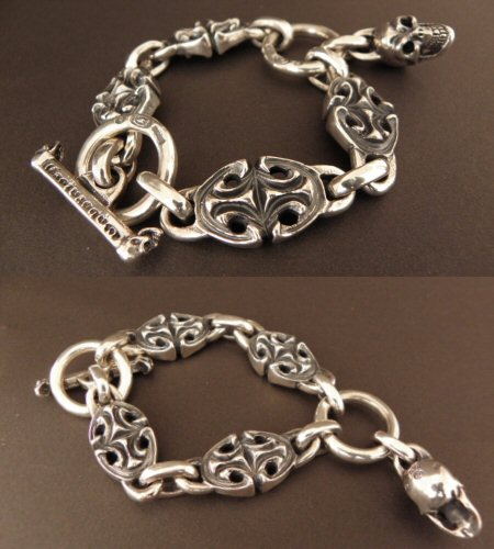 画像3: All Sculpted Oval Links & Skull Drops Bracelet