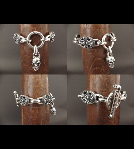画像4: All Sculpted Oval Links & Skull Drops Bracelet