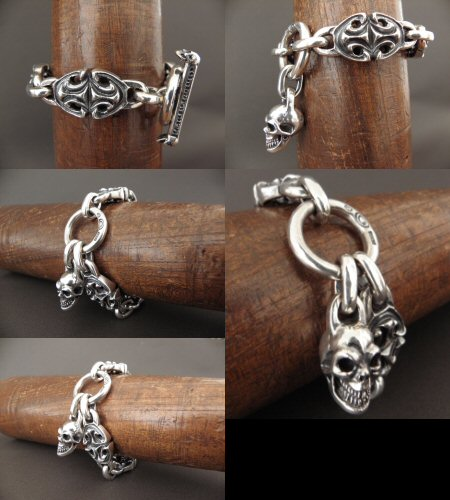 画像5: All Sculpted Oval Links & Skull Drops Bracelet