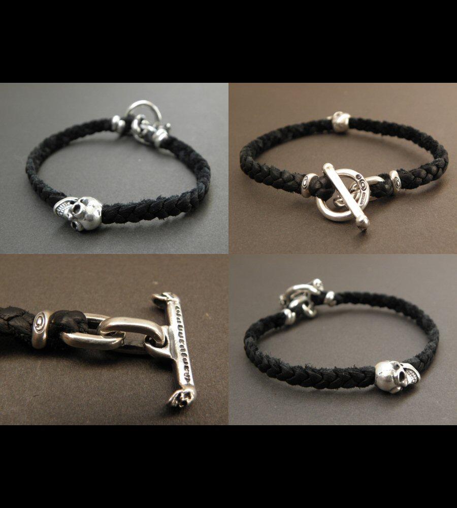 画像4: Quarter Skull On braid leather bracelet