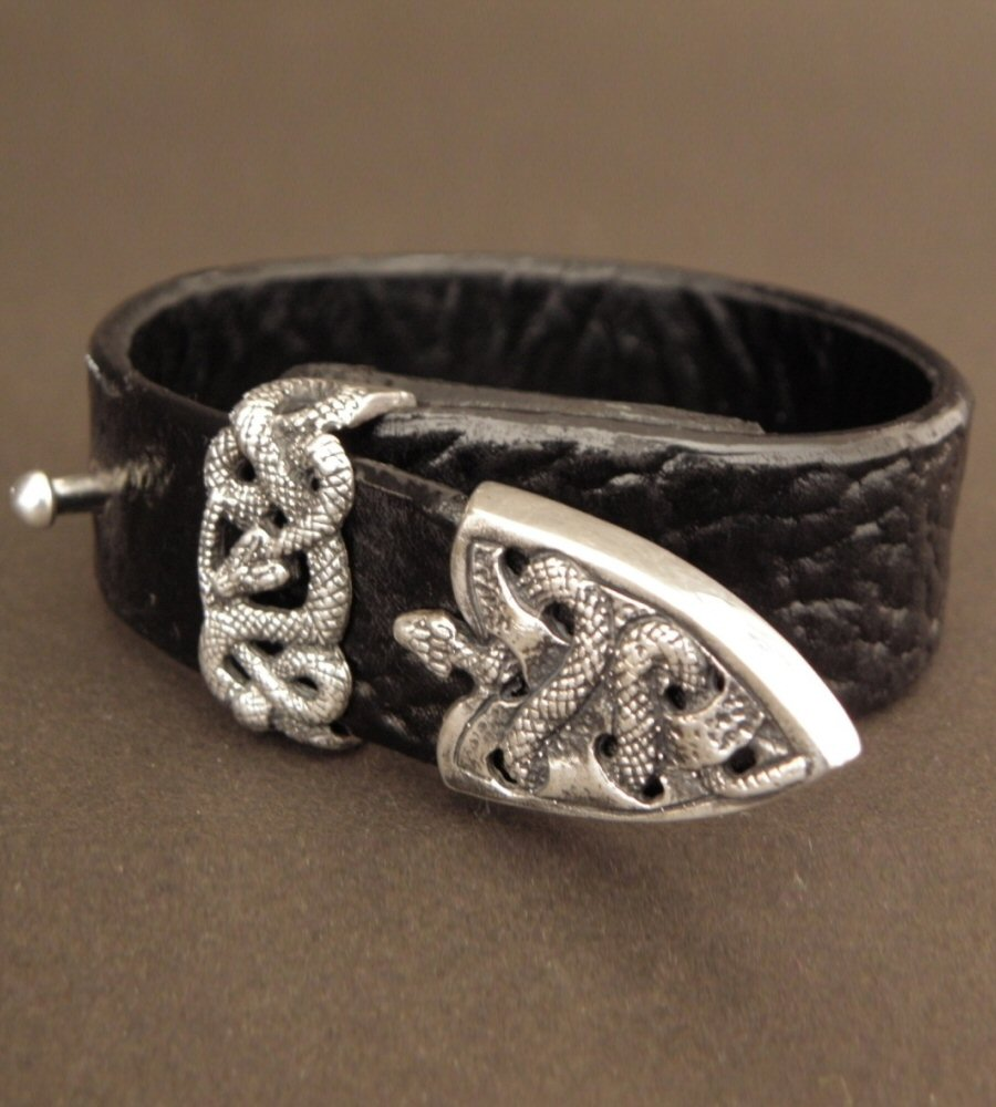 画像2: Snake Loop & Tip Leather Bracelet