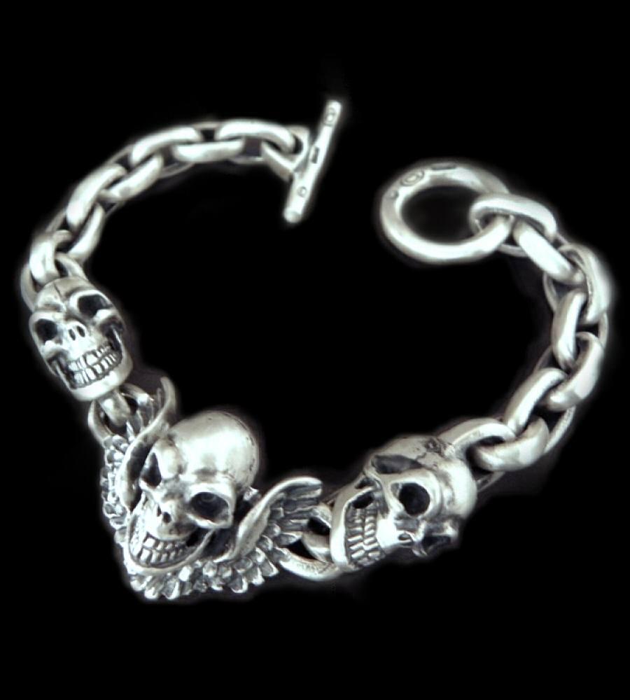 画像1: Skull wing with 2skulls bracelet