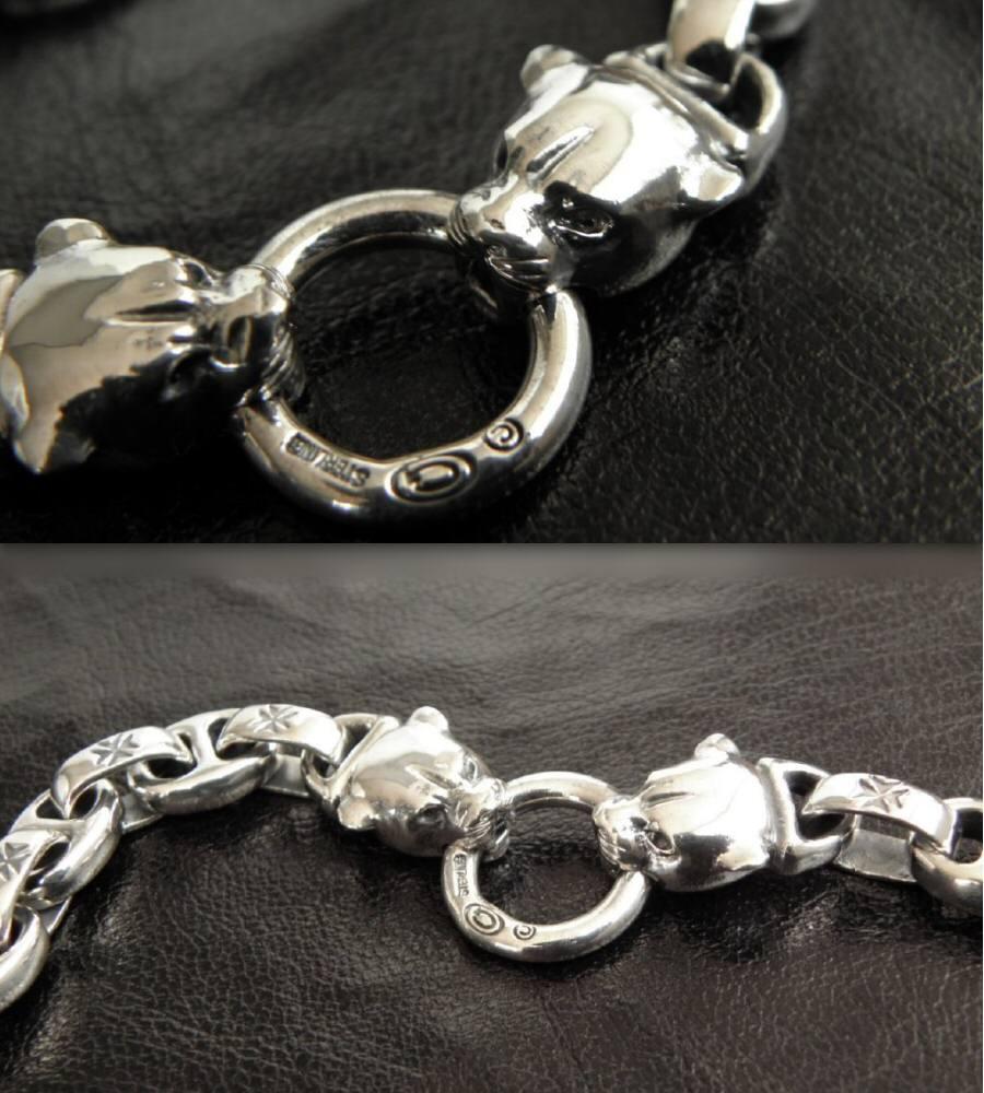画像4: Quarter 2 panther with maltese cross H.W.O & smooth anchor chain bracelet