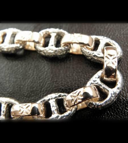 画像4: Quarter Chiseled anchor chain with 10k gold maltese cross H.W.O links bracelet