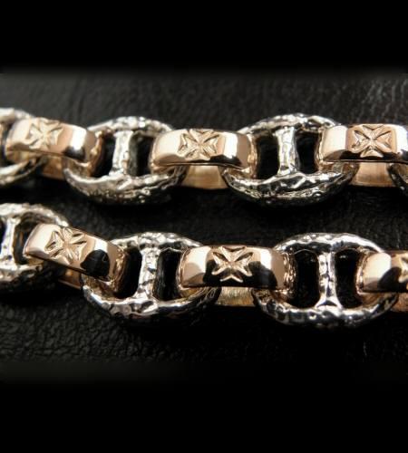 画像2: Quarter Chiseled anchor chain with 10k gold maltese cross H.W.O links bracelet