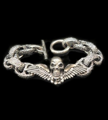 画像1: Wing Skull With Chiseled H.W.O & Chiseled Anchor Links Bracelet
