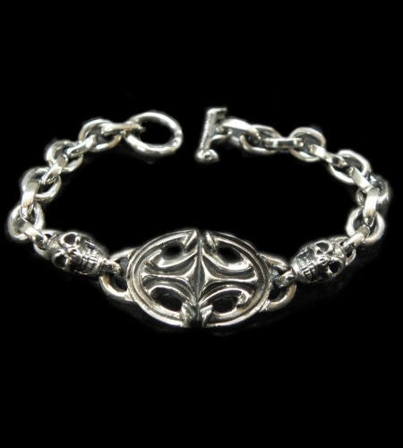 画像1: Quarter Sculpted Oval  ID With 2Skulls & Small Oval Links Bracelet