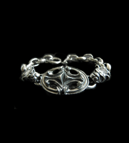 画像1: Half Sculpted Oval With 2 Old Bulldog & Smooth H.W.O, Anchor Chain Bracelet