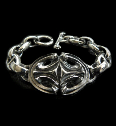 画像1: Sculpted Oval With All Smooth H.W.O Anchor Chain Links Bracelet