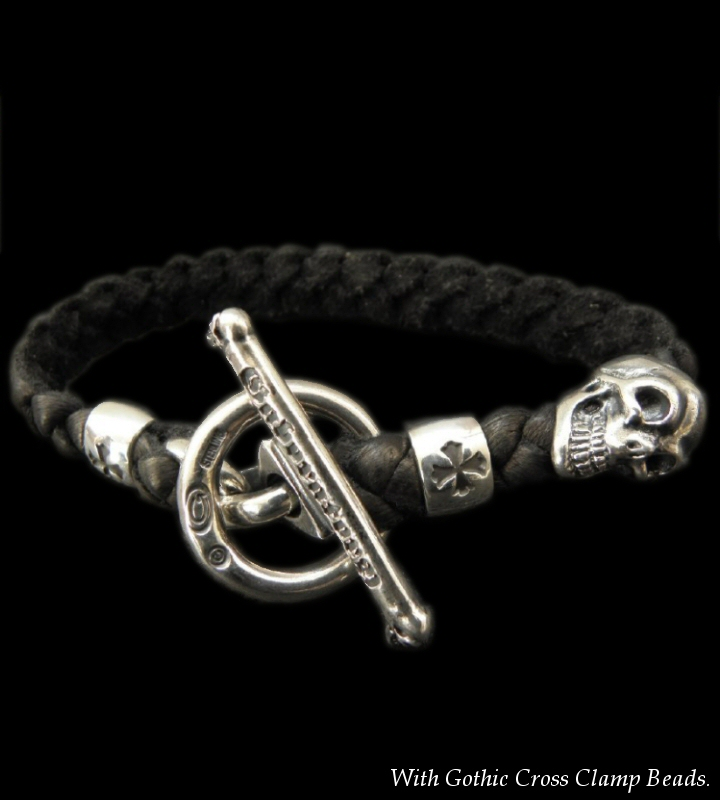 画像1: Skull On Braid Leather Bracelet With Phantom T-bar